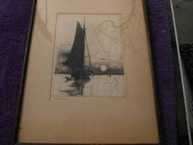 Early Calif. etching by listed artist George JUERGENS in Yucca Valley, California