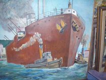 1966 Oil on canvas of S.F. harbour by ELLSWORTH in Yucca Valley, California