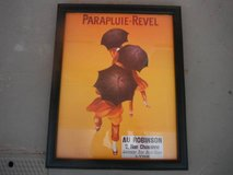 """Colorful vintage print """"PARAPLUIE-REVEL"""" in Yucca Valley, California"""