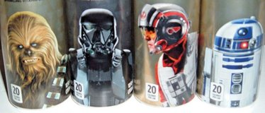 4 Unopened Star Wars Space Punch Cans Chewbacca #4 R2D2 #8 Death Troopper II #19 Poe Dameron #20 in Plainfield, Illinois