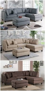 New! Beige or Charcoal Linen Sofa Sectional and Ottoman FREE DELIVERY in Oceanside, California