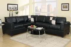 New! Black Leatherette Sectional Sofa FREE DELIVERY in Oceanside, California