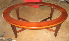 Wood and Glass Oval Coffee Table in Wheaton, Illinois