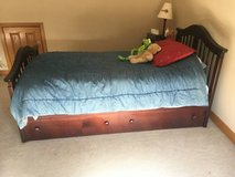Twin Bed with trundle Drawer Solid wood with Cherry finish in Naperville, Illinois