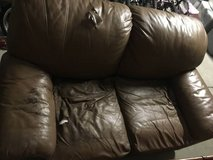 Brown Leather Loveseat/sofa/couch in Vista, California