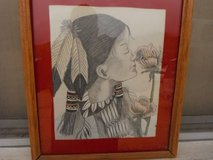 """Watercolor by Native American artist """"C.C.O."""", dated 1997 in Yucca Valley, California"""