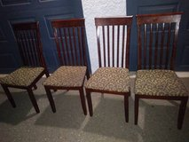 4 Mahogany Wood Slat chairs with Classic Paisley Seat in Beale AFB, California