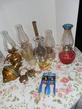 LOT COMPLETE ANTIQUE OIL LAMPS & PARTS in DeKalb, Illinois