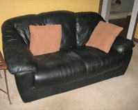 Black Leather Loveseat and Sofa in Naperville, Illinois