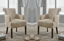 Set of (2) Regency Upholstered Accent Chairs (Doily) - NEW! in Naperville, Illinois
