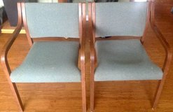 (2) Open Arm Accent Chairs ~ wood with upholstery seats in Chicago, Illinois