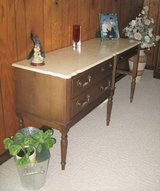 Vintage Wood Desk with Cultured Pearl Top - Unique in Naperville, Illinois
