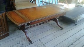 Antique Henredon Solid Wood Coffee Table with Leather Inlay in The Woodlands, Texas