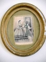 Oval Frame Picture Engraved Les Modes Steel Engraving & Water Colors in Temecula, California