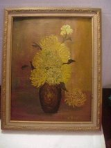Old Vintage Painting Potted Yellow Flowers in Lake Elsinore, California