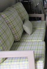 SALE - Yellow and Grey Plaid Outdoor Sofa in Elgin, Illinois