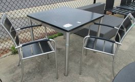 Memorial Day Sale - Outdoor Black Patterned Metal Table with 2 Chairs in Bartlett, Illinois