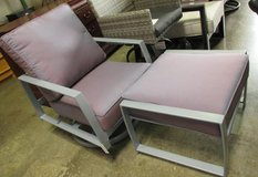SUMMER SALE - Mauve Outdoor Swivel Chair with Ottoman in Schaumburg, Illinois