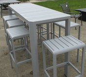 SALE Merchandise Mart Floor Sample - Outdoor High Top Table with 8 Stools in Elgin, Illinois