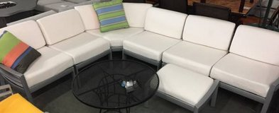 Outdoor 7 Piece Aluminum Sectional Sofa with Ottoman in Schaumburg, Illinois