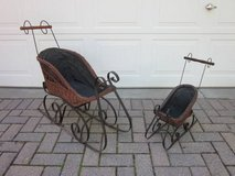 """Wicker & Iron Sleigh Set of 2 for Dolls or Bears 30.5"""" & 21.5"""" tall in Aurora, Illinois"""