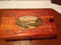 Vintage Carved Cedar Jewelry Box with mirror in Dover, Tennessee