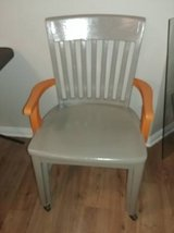 Retro Gray and Orange Wood Arm Chair on Casters in Beale AFB, California