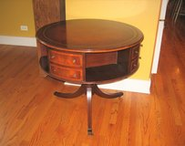 1940's Vintage Antique Leather Top with Gold Leaf Embossed Rotating Drum Table in Naperville, Illinois