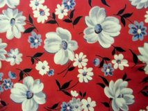 "19th c antique cotton fabric red with peonies 160"" x 40"" in Brookfield, Wisconsin"