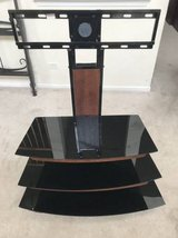 Whalen 3-Tier Television Stand -Black Metal & Glass with Wood Trim in New Lenox, Illinois