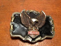 Vintage 1984 Eagle Live & Ride motorcycle belt buckle USA made in Dover, Tennessee