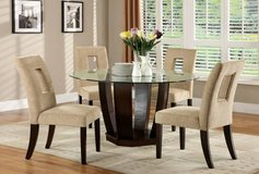 New! West Palm Glass Round Table + 4 Linen Chairs FREE DELIVERY in Camp Pendleton, California