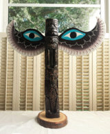 Handcarved Wood Totem Pole with Wings Artist Signed Frank Kim Winged in Naperville, Illinois