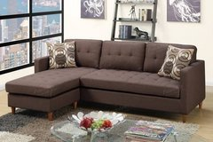 New Brown Linen Mini Linen Sofa Sectional with Pillows FREE DELIVERY in Miramar, California
