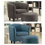New! Blue or Gray Linen Accent Chair and Ottoman DELIVERY AVAILABLE in Miramar, California