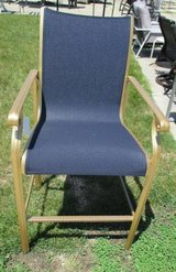 Outdoor Blue Chair and Side Table in Gold Tone Finish in Naperville, Illinois