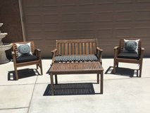 4-Pc Patio Settee Conversation Set (Possibly Teak Wood) in Fairfield, California