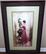 Large Framed / Matted Art - Woman with Chrysanthemums in Naperville, Illinois