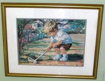 "Framed Golf Art ~ ""Just Like Dad"" ~ Boy Golfing by Corinne Hartley in Chicago, Illinois"