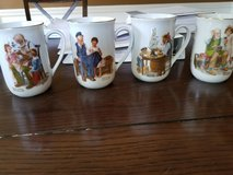 Never used seal of authenticity Norman Rockwell Museum collection of 4 mugs in Wheaton, Illinois
