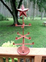 """primitive star 12 candle holder holds roughly 3/4"""" candles metal cranberry! in Brookfield, Wisconsin"""