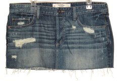 Abercrombie Fitch Button Fly Distressed Cut Off Denim Jean Skirt 12 Measures 36 in Yorkville, Illinois