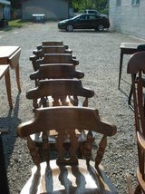 set of 6 pine dining chairs (4 regular - 2 captain chairs) in Plainfield, Illinois