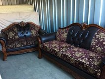 Leather and brocade claw sofa Couch love seat set in Vacaville, California