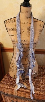 Shades of Blue Knit Narrow Fashion Accent Scarf w/Mixed Media, 76' x 1' in Naperville, Illinois