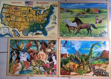 Set of 4 Wood Melissa Doug Jigsaw Puzzles Wooden Puzzle Dinosaurs Pets in Glendale Heights, Illinois