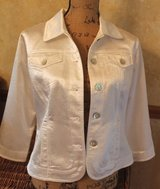 Ruby Rd. White Button Front Jacket, 3/4 Sleeves, Embossed Design, Small in Naperville, Illinois