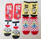Adorable Toddler's Minion Ankle Footie Socks, 4 Pairs - NWOT in Westmont, Illinois