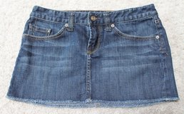 Adorable Denim Frayed Hem Mini, Medium Wash, X2 Quality Denim, Size 2 in Aurora, Illinois