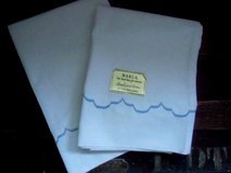 "vintage 1960's pillowcases pair 32 1/2"" x 20"" blue scalloped hem noswt! marla in Brookfield, Wisconsin"